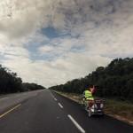 Sur la route au milieu de la jungle Maya